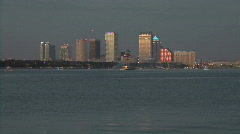 Waterfront Skyline Of Tampa Florida At Dusk Stock Footage