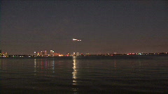 Pyrotechnic Airplane Stunts Over Tampa's Skyline Stock Footage