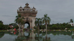 Laos: The Patuxay monument  Stock Footage