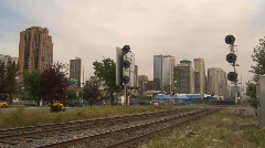 Downtown traffic at level crossing, Calgary, Alberta time-lapse Stock Footage