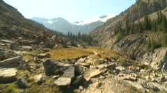 Sports and fitness, hike along mountain trail Stock Footage