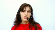 Funny Call Center Operator Stock Footage