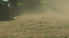 Riding Lawn Mower Blowing Brown Grass Stock Footage
