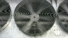Rotary Cooling Fans On An Industrial Building Air Conditioning Unit Machine Stock Footage