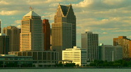 Cityscape of downtown Detroit at sunset Stock Footage