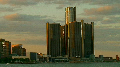 Cityscape of downtown Detroit at sunset  - stock footage
