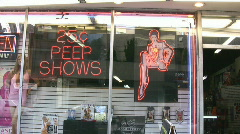 Neon Signs In The Window Of An Adult Sex Store Montreal Canada - stock footage