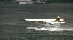 Single Engine Seaplane Take Off Vancouver Harbour Canada Stock Footage