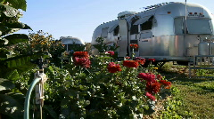Airstream trailer and flowers Stock Footage
