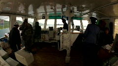 Command bridge on Boat on lake Khövsgöl, Mongolia Stock Footage