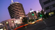 Stock Video Footage of Capitol Records Day to Night Time-lapse