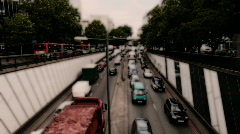 Euston london city urban traffic buildings skyscrapers sky clouds Stock Footage