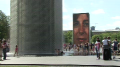Millenium Park Face Water Features Stock Footage