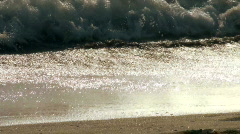 Waves crash on beach closeup - HD Stock Footage