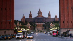 Plaza espagna barcelona landmark monument tourist people Stock Footage