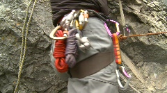 Sports and fitness, rock climbing, #16 ropes and carabiner  Stock Footage