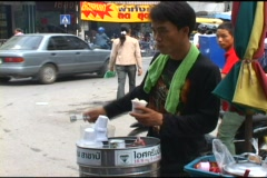 Selling Ice Cream From A Can Stock Footage