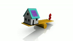 Animation of a house and dollar symbol on a see-saw Stock Footage