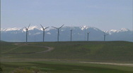 Wind Turbines with Train 9 Stock Footage