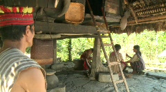 Ifugao man entering his home 1 Stock Footage