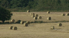 Zoom out from round bales of hay Stock Footage