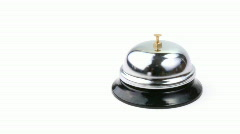 Service bell and human hand ringing footage Stock Footage