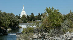 Idaho Falls LDS Temple river P HD 2281 Stock Footage