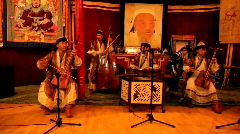 Traditional Mongolian throat singing and music playing Stock Footage