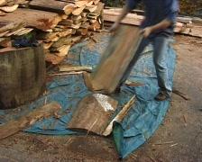 Man cleaving wood Stock Footage