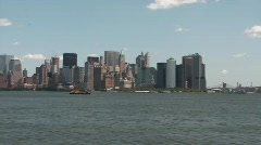 New York skyline seen from ship Stock Footage