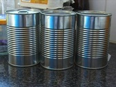 Reflections in cans Stock Footage