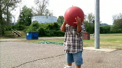 Little Boy with Basketball Stock Footage