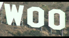 "Close up of ""woo"" from Hollywood sign Stock Footage"