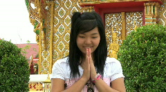 Asian Girl Doing Thai Style Greeting Stock Footage