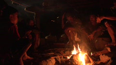 Ifugao people around the fire 3 Stock Footage