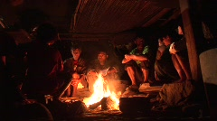 Ifugao people around the fire 2 Stock Footage