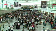 Stock Video Footage of Buenos Aires Airport Crowd