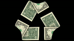 Dollar banknote as recycling symbol  Stock Footage