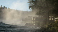 River boardwalk in mist Yellowstone River Stock Footage