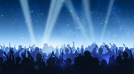 Cheering Crowd Under Stars Stock Footage