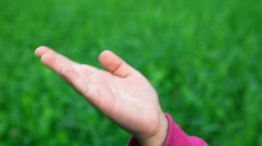 Victory hand sign by little girl on green grass background Stock Footage