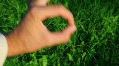 Okay hand sign on green grass background Stock Footage