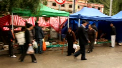 Mushroom market in Kangding, China Stock Footage
