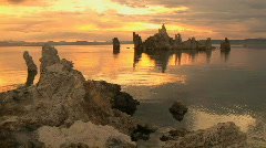 Sunrise on Tufa Formations at Mono Lake in California - stock footage