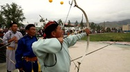 Stock Video Footage of Archery in Naadam Festival, UB, Mongolia