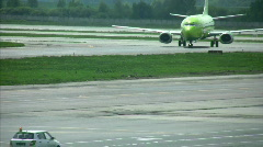 Tracktor on Take-off field Stock Footage
