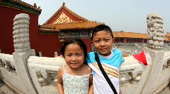 Kids at the Forbidden City, Beijing, fisheye Stock Footage