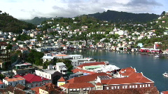 Island of Grenada harbor with traffic Stock Footage