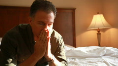 Distraught man hotel Stock Footage