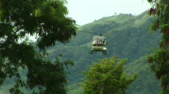 Helicopter lands in grass Stock Footage
